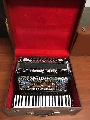 Paolo Soprani Super Paolo III SPECIAL MODELL Adler Strass Schwarz im Koffer TOP