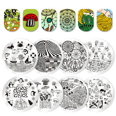 BORN PRETTY Nail Art Stamping Plates Round Image Templates Tips Decor Collection