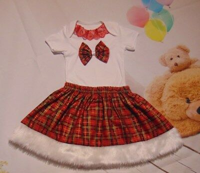 XMAS  Baby / girl  White  Bodysuit Red Skirt