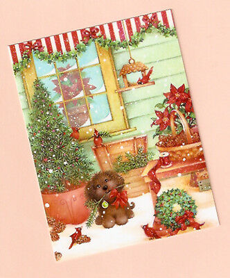 Puppy Cardinal Tree Wreath Christmas Cards Box of 12 Made in USA
