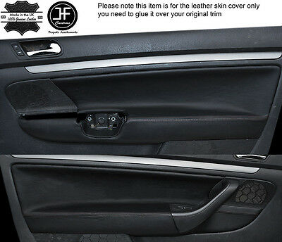 BLACK STITCH 2X REAR DOOR CARD TRIM LEATHER COVER FITS BMW E10 2002 1802 Tii