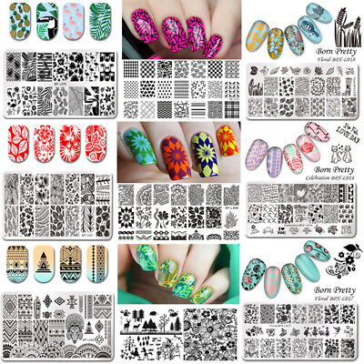 Born Pretty Nail Art Stamping Plates Rectangle Image Templates Decors Collection