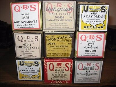 QRS Autograph, 88 Note, Word Roll, US Regular & Vocalstyle Player Piano Rolls
