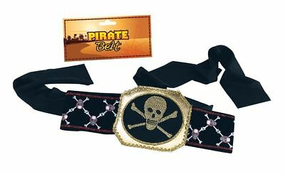 Adult Pirate Belt Captain Jack Sparrow Crossbone Skull Fancy Dress Accessory New