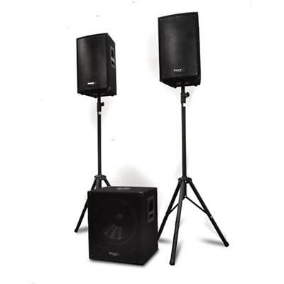 "DJ PA Speakers Set Active Subwoofer 18"" Passive Speakers Pair 12"" Party Loud"
