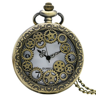 UK STEAMPUNK COGS POCKET WATCH NECKLACE Jewellery Gift Mechanical Analog Retro