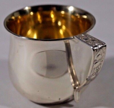 Vintage Sterling Silver Baby Cup J W Wolfenden Corp Goldwash Unused NOS