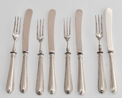 Set of 4 1929 Sterling Silver Handled Fruit Knives and Forks - Yates Bros