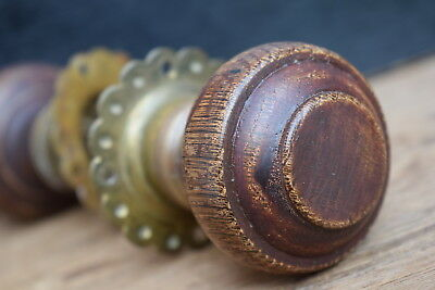 Victorian Wood & Brass Door Knobs old vintage reclaimed handles edwardian