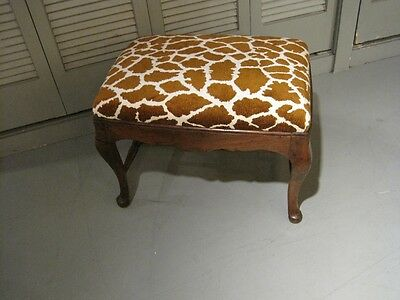 Antique English Georgian Walnut Bench Upholstered Soft Faux Girraffe Print c1800