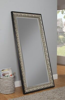Full Length Leaner Mirror Antique Frame Silver Black Beveled Glass Wall Mounted