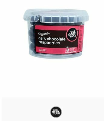 3 x 150g Real Good Food Raspberries Chocolate Coated Dark Organic Tub (450g )