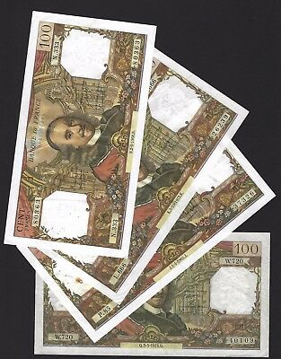 1965 1968 1972 1973 France 100 Francs, Lot of 4 Notes, All Different Dates