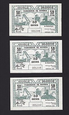 1943 New Caledonia 50 Centimes, 3x Crisp UNC Banknotes, French Colony, Rare