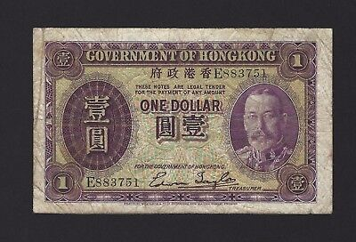 1935 Hong Kong $1 One Dollar, Government Issue w/ KGV Portrait, Nice Original!