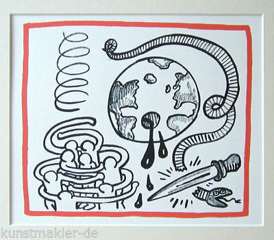 "HARING Keith "" Planet Earth "" 01/20 Vintage Litho 1990 mit 30/40cm Passepartout"