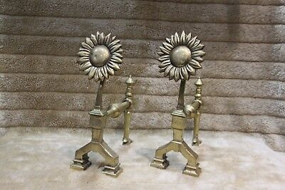 Vintage Brass Sunflower Fire Dogs. A Pair of Solid Brass Fire Dogs