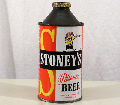 STONEY'S CONE TOP BEER CAN+BOTTLE CAP JONES BREWING SMITHTON PENNSYLVANIA 1950's