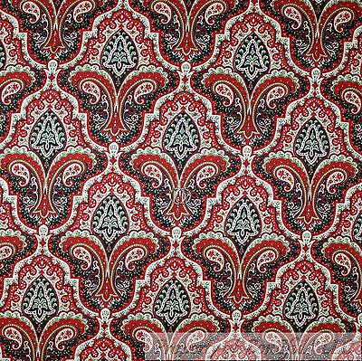 boneful fabric fq cotton quilt black white green red xmas paisley