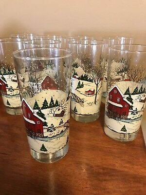 Set Of 8 Currier & Ives Christmas Glasses NEW