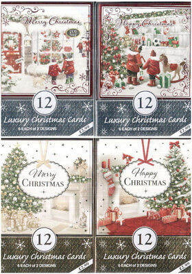 Pack Of 12 Luxury Christmas Cards & Envelopes -2 Assorted Trad Designs in A Pack