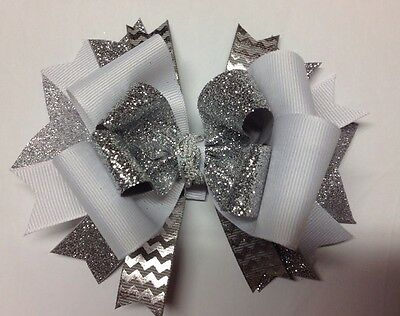 Silver White Shimmer Mini Boutique Hair Bow Homemade Toddler Ships FREE