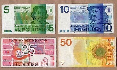 NETHERLANDS - 5  , 10 , 25 and 50 GULDEN - SET WITH  4 BANKNOTES