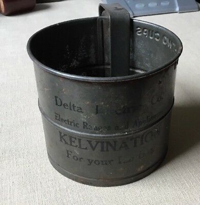 Vintage Flour Sifter Advertising Delta Electric Company
