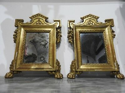 Antique Pair Of Small Mirrors Mirrors End 700 Wood Paint And Golden