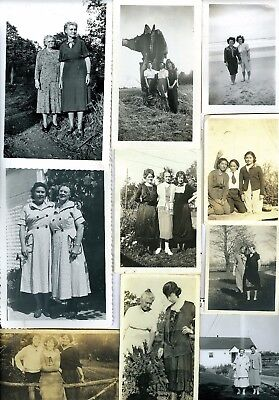 (52) Lot of Vintage Photo Snapshots of Young & Older Women BFF's Mother/Daughter