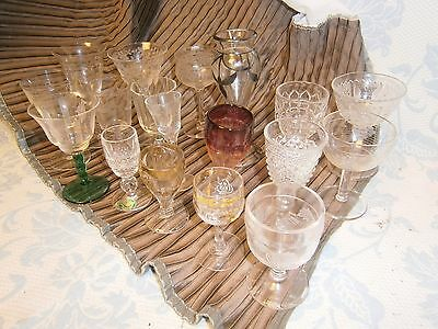 """Lot 18 Antique and Vtg Wine Cordial Whiskey Cherry Glassed Stemmed 3.25 to 6"""""""