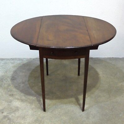 Beautiful Georgian Mahogany Oval Pembroke Table with Drawer  (319)