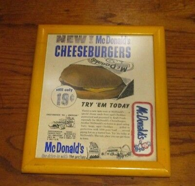 """RARE McDONALD'S FRAMED PLAQUE WALL HANGING OR POSTER - UNDATED - 11 3/4"""""""
