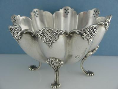 Sterling TOWLE footed bowl - fluted w/ pierced & floral patterns ~ ornate