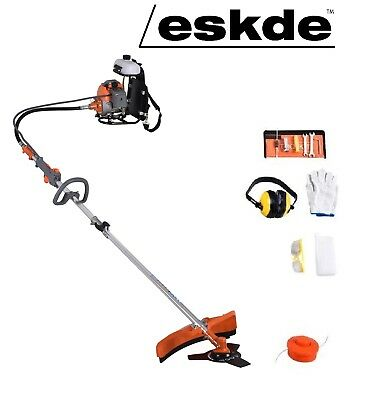 eSkde Petrol Back Pack 2 in 1 Garden Brushcutter Strimmer Multi tool 52cc