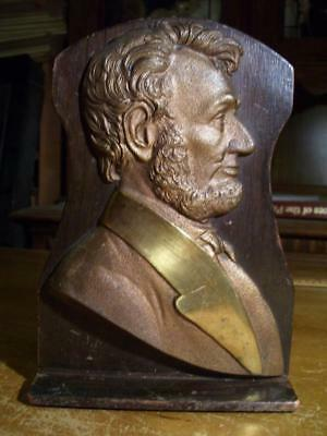 Brass & Wood Abraham Lincoln Single Bookend 6x9 inches Antique