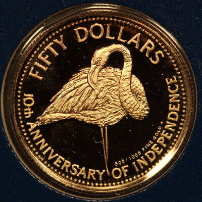 "Bahamas 50 Dollars 1983 ""Flamingo"" Gold Gem Proof - Mtg:962"