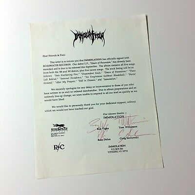 Immolation - Signed Newsletter 1991 / Incantation, Necrovore, Mortician