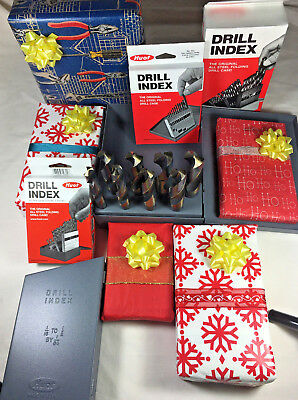 """8 PC Black Gold Silver & Deming Drill Bit Set of 9/16 to 1"""" S&D  Huot 1/2"""" Shank"""