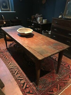 Antique French Original Painted Country Farmhouse Kitchen Dining Table