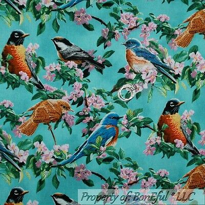 BonEful Fabric FQ Cotton Quilt Aqua Blue Bird Pink Flower Green Leaf Cherry Tree