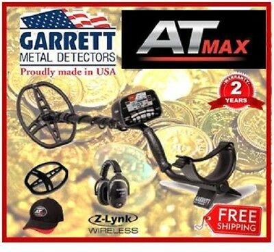 GARRETT AT MAX Metal Detector with  Z-lynk Wireless Head Phones, Coil Cover, and