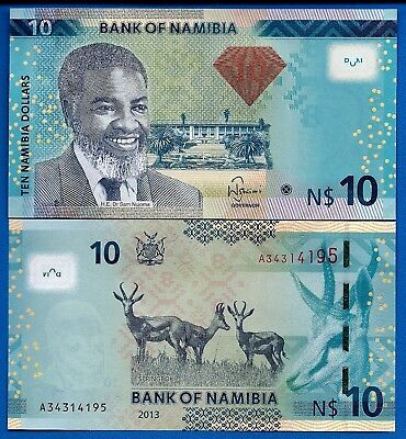 Namibia P-11b 10 Namibia Dollars Year 2013 Antelopes Uncirculated