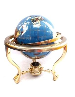 World Gemstone GLOBE With Metal Stand 35 x 29 cm - in Great Condition UK 🇬🇧