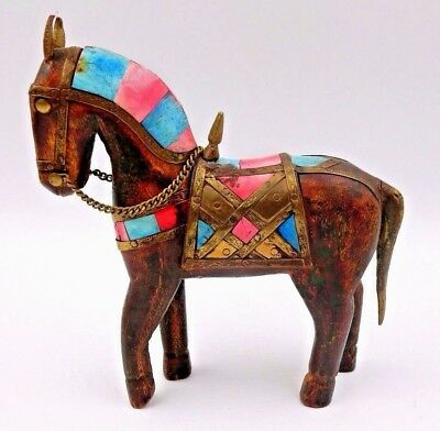 Antique Folk Art Small Multi-Colored Wooden Horse W/ Copper Saddle And Reigns