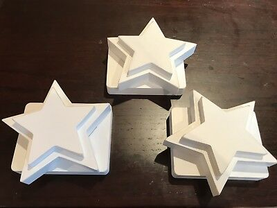 Pottery Barn Kids Star QuiltHolders - Set Of 3 Off White Ivory Wood- New