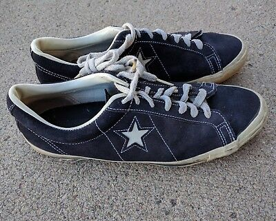 vintage CONVERSE ONE STAR shoes * chuck taylor all BLACK label suede SIZE 12 USA