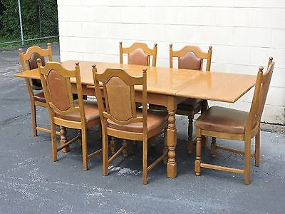 Dining furniture set: antique expandable table w. six matching chairs