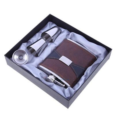 7oz Stainless Steel Leather Hip Flask Whiskey Bottle Pocket + 1 Funnel 2 Cup NEW