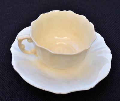 Antique 1912 HAMMERSLEY China White FLOWER Shape Set Demitasse Cup &Saucer #3243